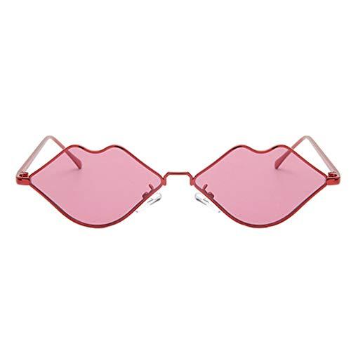 Junecat Lippenform-Sonnenbrille-Frauen-Metall-Legierung Rahmen Shades PC Objektiv Sexy Mouth-Augen-Gläser Zubehör