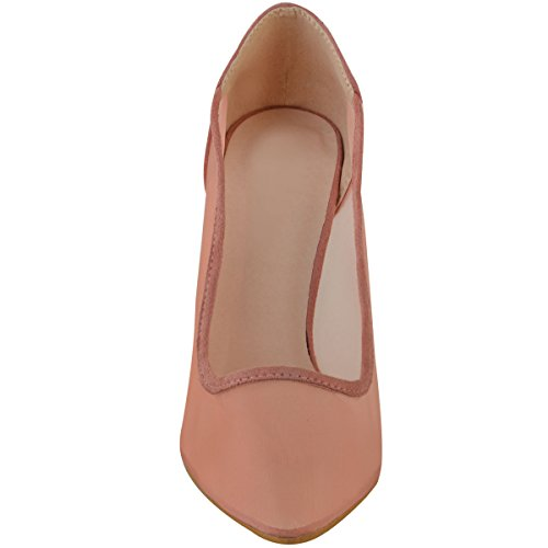DONNA MESH Décolleté scarpa décolleté tacco alto celebrità di marca Shania Party Taglia pastello rosa camoscio sintetico/Mesh