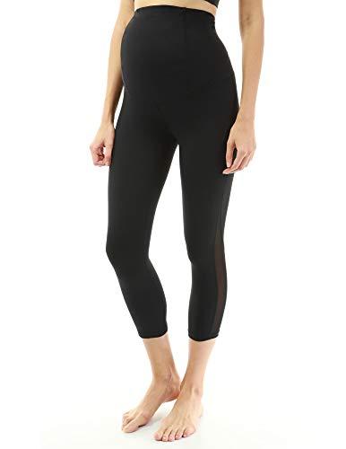 Ernte Damen Hosen (PattyBoutik Mama Formgebung Serie Mutterschaft Ernte Legging Yoga Hose (schwarz mit mesh XL 46))