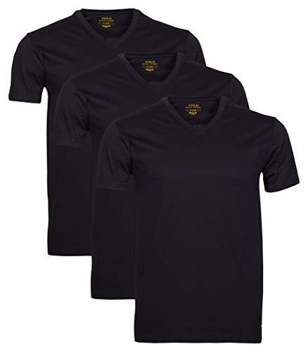Polo Ralph Lauren 3er Pack Herren T-Shirts, V-Neck (L, Schwarz)