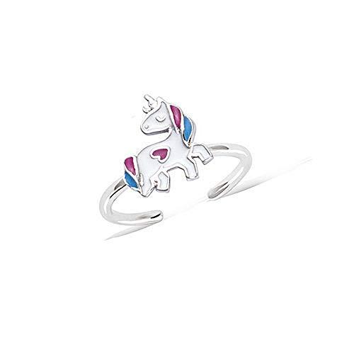 Tata Giselle - Anillo infantil de plata 925/000 rodiada y esmaltada, ajustable, diseño de unicornio