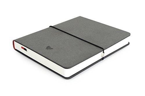 Leder Faser Notizbuch - Anthrazit, Blanko | ca. A5, 16 x 20 cm | 208 Seiten, 130g/m² mit 1,3 Volumen | Hardcover | Made in Germany