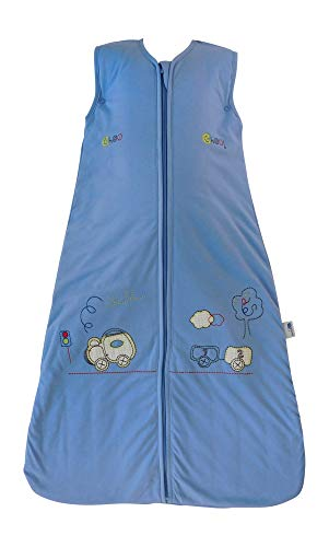 Slumbersac Baby Ganzjahresschlafsack 2.5 Tog in blau - Zug - 6-18 Monate/90 cm für Jungs