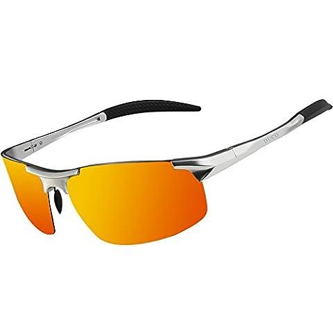 Duco Men's Driving Sunglasses Polarized Glasses Sports Eyewear Fishing Golf Goggles 8177S (Silver Frame Revo Gold Lens)