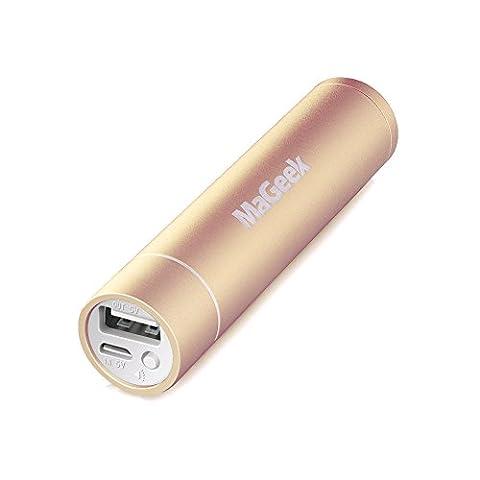 MaGeek® Atom1 3350mAh Lipstick-Sized Portable Chargeur Batterie Externe Power Bank avec UniCharge Technology pour iPhone et Samsung (Or)
