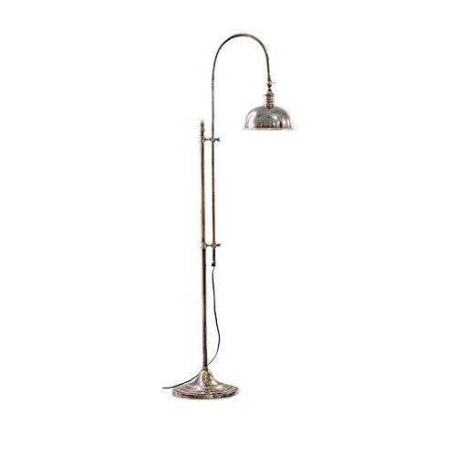 LOBERON Stehlampe, Messing, H/Ø ca. 153/27 cm, antiksilber, Energieeffizienzklassen A++ bis E