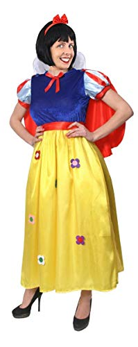 Damen Snow White Princess Fancy Kleid Deluxe Outfit. Beautiful Flower Details. Ideal für Fairytale, Buchen Woche oder Charakter Kleid. Cape + inklusive Haarband.