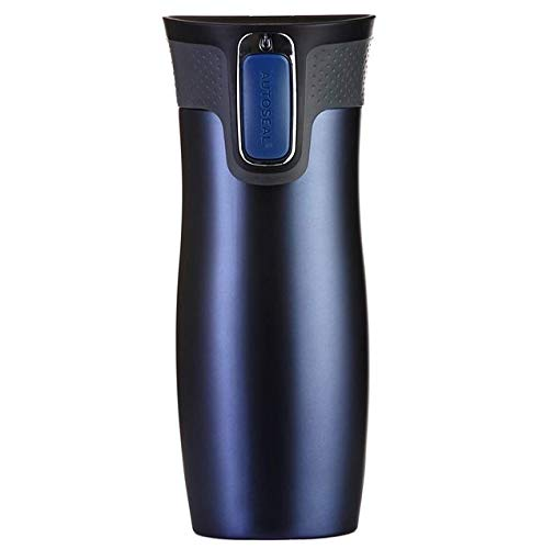Contigo Thermobecher West Loop Autoseal, Edelstahl Isolierbecher, Kaffebecher to go, auslaufsicher, spülmaschinenfester Deckel BPA-frei, 470 ml , Monaco Blue Matt , 470 ml