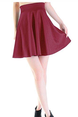 Damen grundlegende Hochhaus Marone Fuax Leder Taille Skater aufgeweitetem kurzen Mini Faltenrock rot