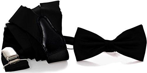 ADAMANT® Designer Hosenträger Set mit Fliege Schwarz | Verschiedene Farben | Geschenkbox im Lieferumfang enthalten |