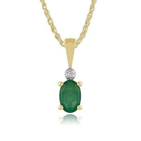 Or jaune 9 carats-Émeraude-Diamant naturel 0.42ct &pendentif ovale