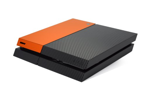 Noir en Fibre de Carbone et Deux Tons Orange Mat Accessoire Wrap Autocollant Peau Autocollant pour pour Playstation 4PS4