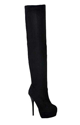Hiver Martin bottes bottes de genou bottes à talons hauts bottes femmes Noir