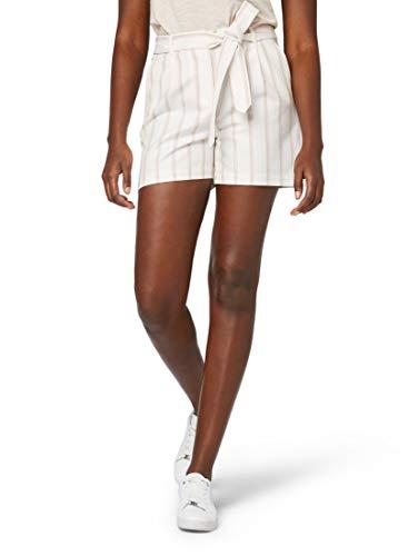 TOM TAILOR für Frauen Hosen & Chino Toni Garrn: Leinenshorts mit Gürtel Whisper White Mix Stripe, 40 - Cord-bundfalten-shorts