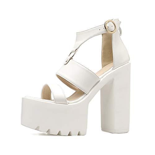 Buckle Mule Sandals (YAN Women es High Heel Sandals 2019 Neue PU Fashion Platform Shoes Buckle Ladies Ultra High Heels Clogs & Mules White Black,White,39)