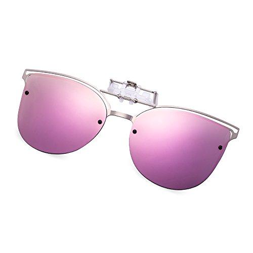 WELUK brille clip, Katzenauge Mode UV-Schutz Sonnenbrille Aufsatz für Frauen, flip-Sonnenbrille aus Metallrahmen für Korrekturbrillen. (Rosa)