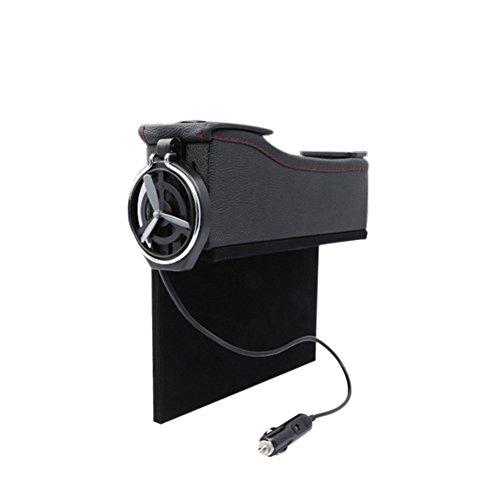 Leslaur Doppel USB Port Multifunktions Leder Catcher Box Autositz Cup Coil Pocket Speicherorganisator -