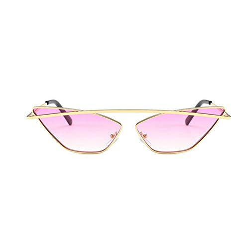 GBST Women Cat Sunglasses Luxury Metal Frame Red Lens Vintage Brand Narrow Triangle Sunglass with Box,Purple