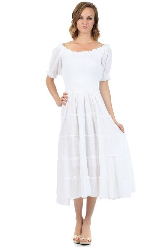 Sakkas 3702 Cotton Crepe Bauer Boho Renaissance Kleid -