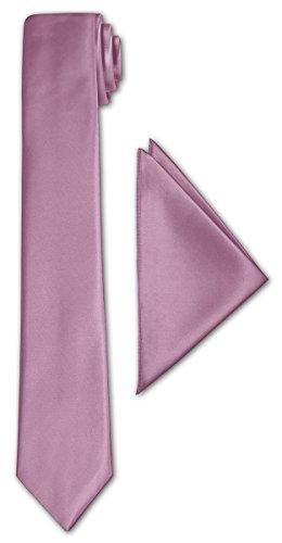 CRIXUS schmale Krawatte Hell Flieder Satin-Krawatte mit oder ohne Einstecktuch ( Tuch Maß 26 x 26 cm ) einfarbig (mit Einstecktuch) - Italien Seide Krawatte