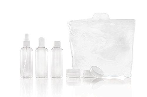 * Reiseflaschen-Set 6-teilig | 3 x 100 ml + 2 x 12 ml + wiederverschließbarer Plastikbeutel | Kosmetiktasche Reisegröße (12 Ml Flüssigkeit)