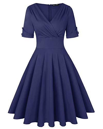 MINTLIMIT Damen Plus Größe Tiefer V-Ausschnitt Kappenärmel Wickelkleider Casual Flared Midi Kleider (Navy blau,Größe M) (Vintage-stil-cocktail-kleid Plus)