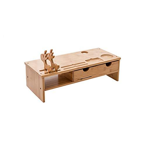 or Ständer mit Fawn Handyhalterung, Holz PC Stand Desktop Monitor Riser, TV Stand Schreibtisch Organizer Stauraum für Tastatur und Maus,Oak ()