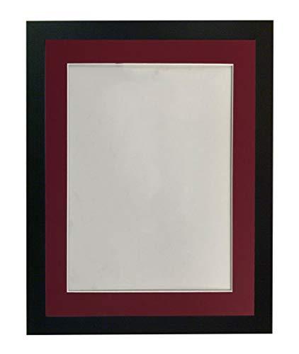 Frames by Post H7 Bilderrahmen mit rotem Passepartout, Holz, Schwarz, 50 x 40 cm Image Size A3 (Plastic Glass)