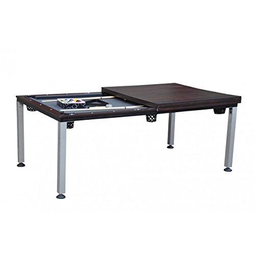 Billard Américain 2-en-1 Convertible en Table dînatoire - Marron-Gris 217 x 125cm