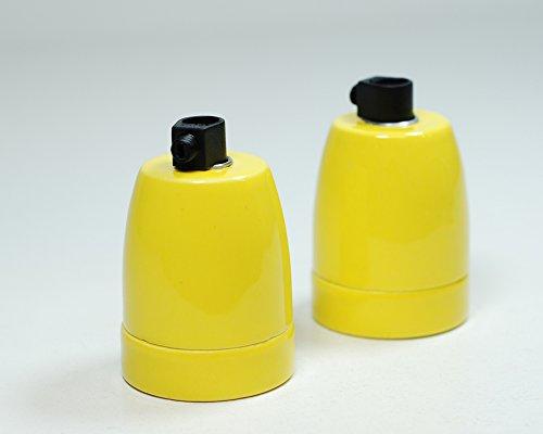 Porcelana de cerámica Auraglow titular | E27 ES tornillo | Amarillo | , 2 unidades