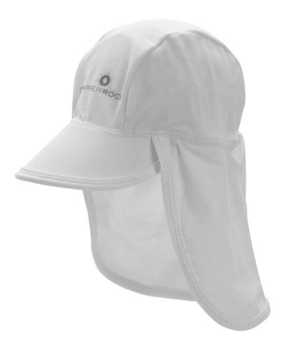 UV Schutz Sommer Kappe Mütze mit Schirm Nackenschutz für Babies und Knirpse am Strand, Pool und Drauβen Weiß 603-FLAP/OneSize ()
