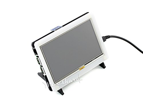 Waveshare 5 Inch HDMI LCD 800 * 480 High Resolution with Bicolor Bracket Case for Raspberry Pi 2 Model B/Raspberry Pi Model B/B/A/Raspberry Pi 3 Model B