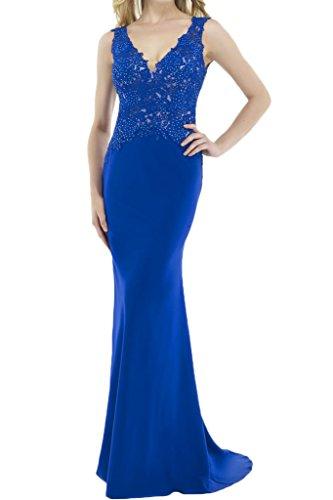 Milano Bride Sexy V-Ausschnitt Mermaid Lang Abendkleider Festkleider mit Spitze Applikation Royal Blau