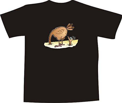 T-Shirt E881 Schönes T-Shirt mit farbigem Brustaufdruck - Logo / Grafik - Comic Design - lustiger Vogel Strauss mit Kopf im Sand Mehrfarbig