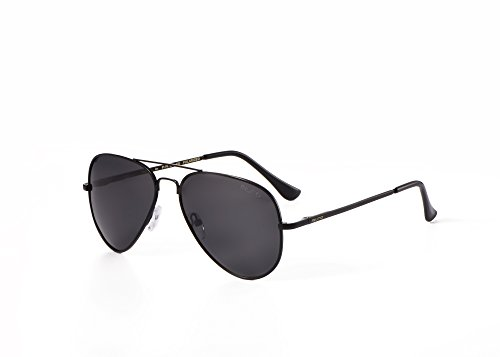 Miuno® Sonnenbrille Polarisiert Polarized Herren Damen Geschenkbox & Brillentuch Federscharnier 3025 Schwarz (Schwarz)