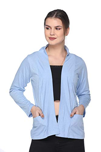 IN Love Shrugs with Pockets for Women (Large)(Sky Melange)