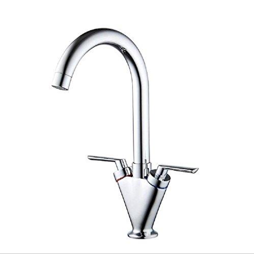 Preisvergleich Produktbild AMZH Hähne alle Kupfer heißen und kalten Doppel-Wasserhahn Küche Spüle Wasserhahn kann Wasserhahn drehen