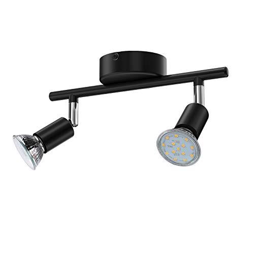 chte, 2 Flammig inkl. 2 x 3.5W GU10 LED Lampen, 380LM, Warmweiß, Schwenkbar, Nicht Dimmbar, LED Deckenlampe, LED Deckenspot, Deckenstrahler (Schwarz) ()