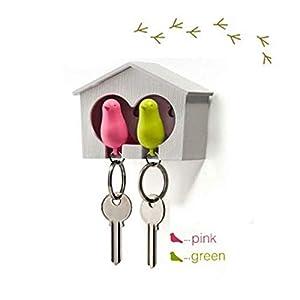 QUALY QL10124W-P Schlüsselbrett Schlüsselahnhänger Duo Sparrow Key Ring, weiß/rosa