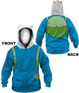 Adventure Time Finn Backpack Costume Hoodie Sweatshirt | (Time Kostüme Adventure Finn)