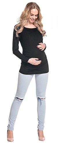 Happy Mama. Femme. Maternité jolie top t-shirt. Haut grossesse tunique. 947p Noir