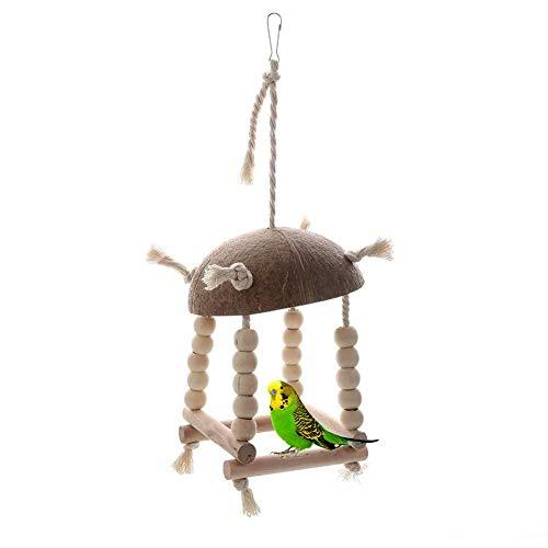 navigatee Sittichnest, Kokosnussschale Papagei Schaukel Spielzeug aus Holz Leinen Seil Vogel Barsch zum Aufhängen auf Garten Balkon Fenster -