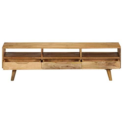 Tidyard- TV-Schrank Fernsehschrank TV-Regal Holz TV-Tisch mit 3 Schubladen und 3 Regalen 140 x 30 x 41 cm Massives Mangoholz -