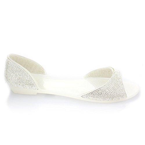 Aarz Femmes Mesdames Soirée Casual Flat Diamante doux Jelly Slipper Chaussures Taille (noir, champagne, blanc) Blanc