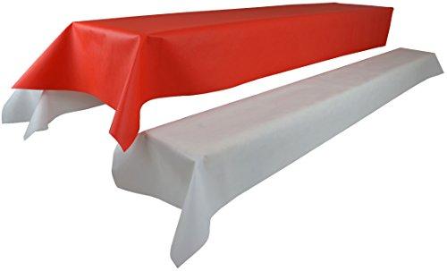 Bierzeltgarnitur 1 Tischdecke (Farbe & Breite nach Wahl) (1,2 x 2,5m, rot) und zwei weiße...