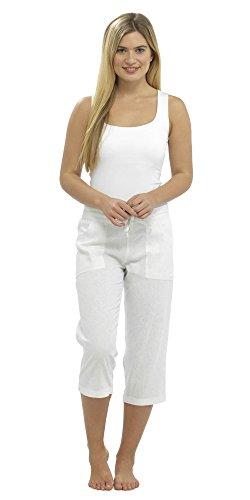 Lora Dora Damen Leinen Hose zugeschnitten Capri/Full Länge Hose UK 10-18 Gr. 42, White Crop Pants Only -
