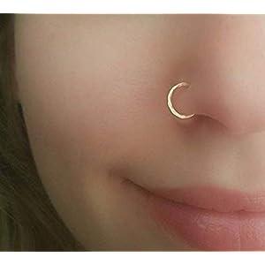 Gold Nasenring Piercing gehämmerter kleiner