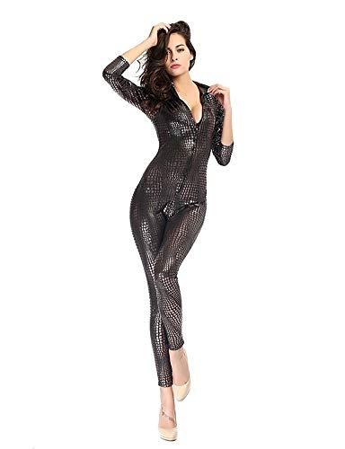 ißEr Tanz des Nachtklubs Einteilig Lackleder Schlangenhaut Enger ReißVerschluss Latex Uniform, Gray, XL ()
