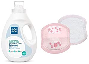 Mee Mee Mild Baby Liquid Laundry Detergent, 1.5L & Ultra Thin Super Absorbent Disposable Nursing Breast Pads 40+8 Pads Free (48 Pads) Combo
