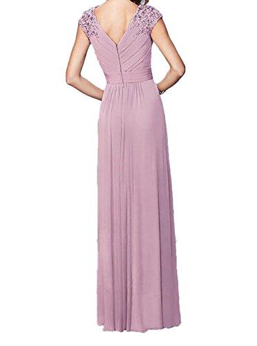 Charmant Damen Rosa Elegant Spitze Chiffon Abendkleider Brautmutterkleider Partykleider Lang A-linie Rock Navy Blau